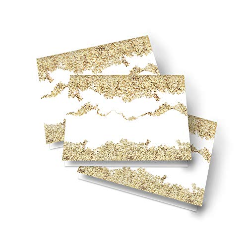 Abstract Gold Table Place Cards – (25 Pack) Bridal Shower – Dinner Party - Buffet Signs – Girls Baby Shower – Wedding - Seating – Many Uses – Folded - Blank to Personalize - Confetti Party Supplies