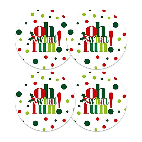 Oh What Fun Christmas Stickers (60 Pack) Holiday Party Supplies Round Gift Labels
