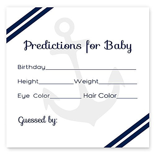 Nautical Predictions for Boys Baby Shower Games (Set of 25)