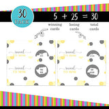 Yellow and Grey Scratch Off Cards (30 Pack) Games for Baby Shower Neutral - Party Supplies – Raffle Prize Tickets – Reveal and Win - Drawings