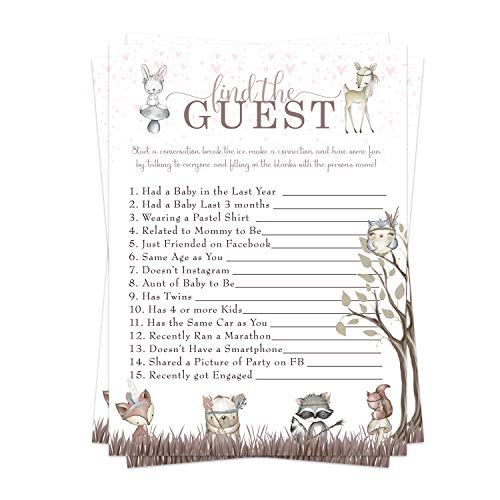 Woodland Friends Baby Shower Game Pack (25 Cards) Find the Guest - Lets Mingle and Meet - Fun Conversation Starter - Sprinkle Activity - Girl Little Forest Animals Pink Floral