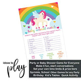 Unicorn Baby Shower Animal Matching Game Pack (25 Cards) Fun Guess the Pair Activity - Sprinkle - Adults - Groups - Kids Birthday – Girls Star and Rainbow Party Supplies