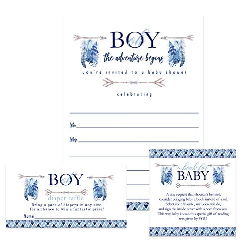 Adventure Awaits Baby Shower Invitation Bundle (25 Guests) Fill-in Blank Invite Oh Boy - Diaper Raffle Tickets - Book Request Cards - White Envelopes - Set Includes 25 Each