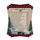 Lumberjack Baby Shower Game Pack - Mommy or Daddy (25 Cards) – Guess Which Parent Said It - Red and Black Plaid - Little Bear Sprinkle Activity Boys – Flannel-Up