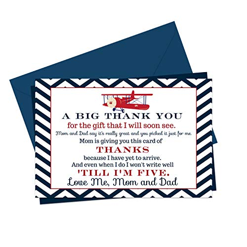 Airplane Baby Shower Thank You Cards and Blue Envelopes (15 Pack) Navy Blue, Red, White