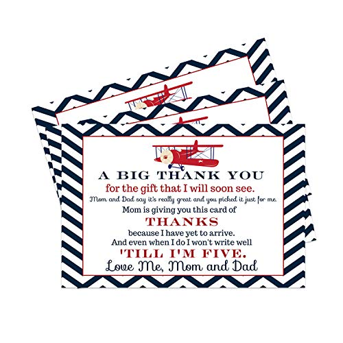 Airplane Baby Shower Postcard Thank You (15 Cards) No Envelopes - Red, White, Blue