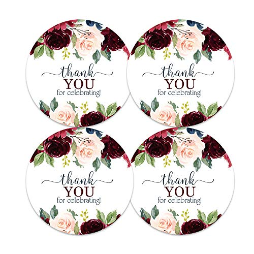 Indigo Floral Stickers (60 Pack) Wedding Favors - Girls Baby Shower - Elegant Rustic Party Supplies - Round Sticky Labels for Thanking Guests - Blue and Burgundy