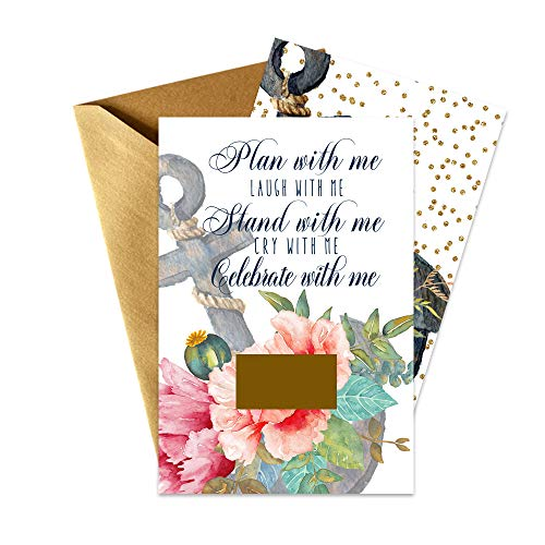 Tying the Knot Bridesmaid Scratch Off Cards (8 Pack) Maid of Honor and Matron - Stand With Me - Asking My Best Friends - I Can't Without You Matron of Honor - Bridal Proposal Invite Set and Envelopes