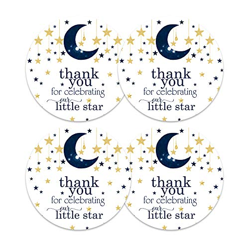 Twinkle, Twinkle Little Star Stickers (60 Pack) Baby Shower Favors - Boys Party Supplies - Navy and Gold Round Labels