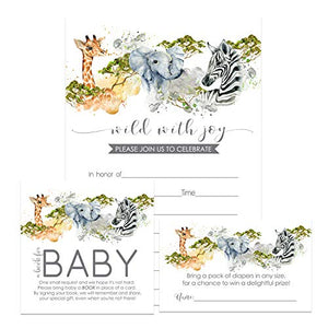 Jungle Baby Shower Invitation Bundle (25 Guests) Fill-in Blank Invite - Diaper Raffle Tickets - Book Request Cards - White Envelopes - Set Includes 25 Each