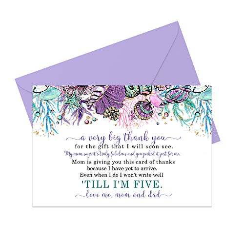 Mermaid Baby Thank You Cards (15 Pack) - Girls Shower Stationery Set with Envelopes - Little Princess - Purple and Teal - A6 Flat Notecards