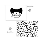 Suit Up Will You Be My Groomsmen Cards Flat (6 Pack) Fun Asking Ideas for My Best Man - Ushers - Father of Bride - Wingman - Ring Bearer - Wedding Attendandts Proposal Invites Set with Grey Envelopes