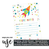 Galactic Space Party Invitations (15 Guests) Rocket Ship Birthday - Boys Baby Shower - Kids Science Themed Event - Colorful - Fill in Blank Style Invite Cards and Envelope Set DIY