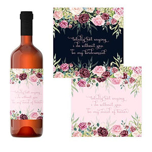 Floral Be My Bridesmaid Wine Bottle Stickers (7 Pack) Labels for Asking My Best Girls - Funny Proposal Labels for Maid of Honor and Bridesmaids - Wedding Party Gift Box Ideas - Blush, Blue
