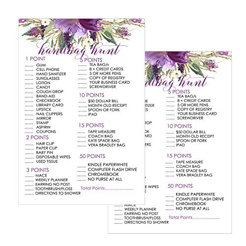 Purple Floral Bridal Shower Purse Game Pack (25 Cards) Baby Shower Hunt - Girls Sprinkle Activity – Rustic Party Supplies
