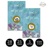 Paper Clever Party Mermaid Scratch Off Game Cards (28 Pack) Girls Baby Shower – Bridal Shower Activity – Drawing Raffle Tickets for Prizes – Seashells Purple and Teal - Under The Sea