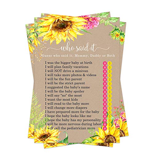 Sunflower Baby Shower Game Pack - Mommy or Daddy (25 Cards) – Guess Which Parent Said It Trivia – Rustic Sprinkle Activities - Woodsy Fall Floral – Neutral Girl or Boy