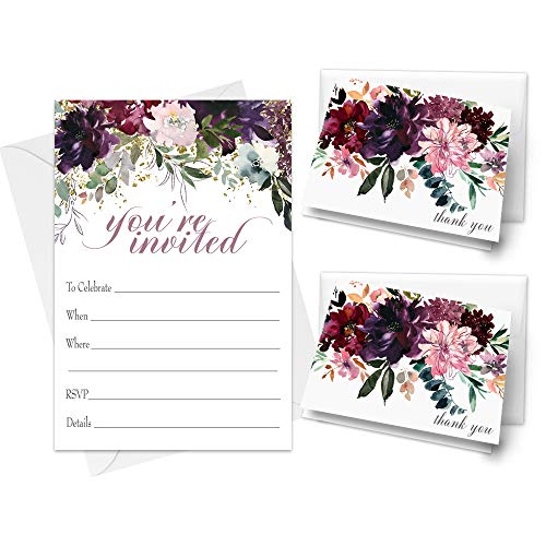 Shabby Floral Party Invitation Bundle (25 Guests) Pack Includes Fill-in Invites, Envelopes, Thank You Cards Styled for Bridal Shower, Wedding, Engagement, Birthday, Girls Baby Shower, Any Event