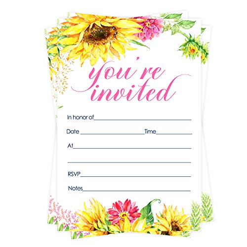 Sunflower Party Invitations (15 Guests) Girls Baby Shower – Rustic Wedding - Engagement - Bridal –Graduation – Fall Gathering – Any Event – Fill in Blank Style Invite Cards and Envelope Set DIY