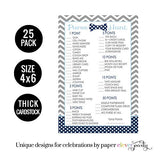 Bow Tie Baby Shower Purse Game Pack (25 Cards) Handbag Hunt Sprinkle Activity – Oh Boy - Little Man Party Supplies - Navy and Grey