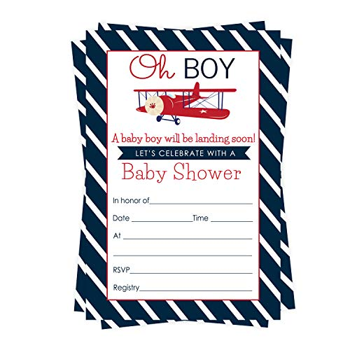 Airplane Baby Shower Invitations (15 Guests) Fill In Blank Style Cards and Envelope