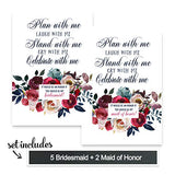 Indigo Floral Scratch Off Bridesmaid Cards (7 Pack) Stand with Me Maid of Honor - Asking My Best Girls - I Can't Without You Best Friend - Funny Wedding Party Proposal Invite Set