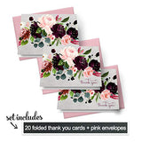 Ruby Floral Thank You Cards Pink Envelopes (20 Pack) Wedding – Boho Bridal Shower – Girls Baby Shower – Birthday - Graduation – Any Special Occasion - Everyday Folded Stationery Note Set