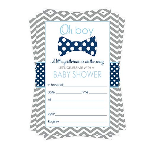 Bow Tie Baby Shower Invitations (15 Guests) Oh Boy – Little Man Party Supplies - Grey Chevron, Polka Dot - Fill in Blank Style Invite Cards and Envelope Set DIY