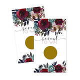 Navy Floral Scratch Off Games for Bridal Shower (28 Pack) Baby Girls - Graduation - Reveal and Win Drawings - Raffle Tickets for Prizes - Rustic Party Supplies - Elegant Wedding Favors