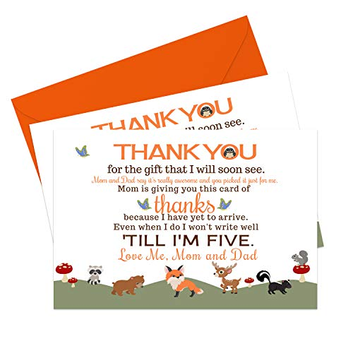 Woodland Baby Shower Thank You Cards and Orange Envelopes (15 Pack) Little Forest Animals - Neutral Boy or Girl - A6 Notecard - Babies Stationery Set
