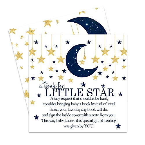 Twinkle Twinkle Little Star Bring a Book for Baby Shower (25 Pack) Instead of Card Invitation Insert - Raffle Game Idea – Navy Blue and Gold – Boys - Gender Reveal Party Supplies – Sprinkles