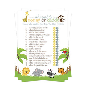 Cute Jungle Baby Shower Games Mommy or Daddy (25 Pack) – Guess Which Parent Said It - Wild Safari Animal Theme - Sprinkle Activity – Gender Reveal Party