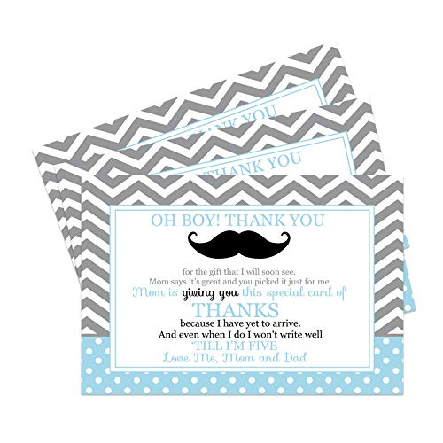 Mustache Baby Postcard Thank You (15 Pack) Oh Boy Little Man Shower Theme - Cards Only - A6 Flat Style Notes - No Envelopes