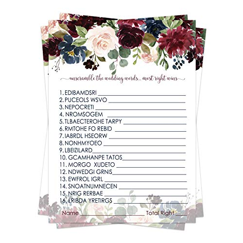 Indigo Floral Bridal Shower Games (25 Pack) Word Scramble Cards – Unscramble the List Activity - Engagement Party - Rehearsal Dinner – Wedding - Ideas for Bride - Rustic Theme