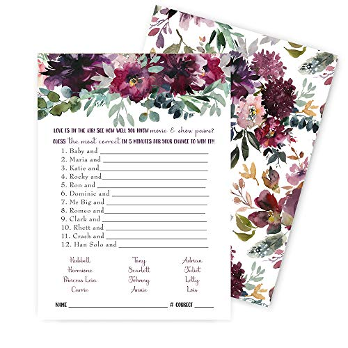 Shabby Floral Couples Matching Bridal Shower Game - Pack of 25