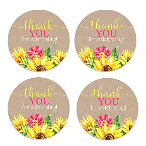 Sunflower Stickers (60 Pack) Favors for Wedding, Baby Shower - Fall Floral Party Supplies - Multi-Use Round Sticky Labels