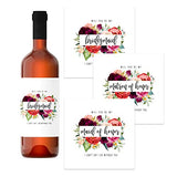 Wildflower Bridesmaid Wine Bottle Labels (12 Pack) Be my Maid of Honor, Matron of Honor – Asking Wedding Party Proposal Stickers – Bridal Attendant Gift Box Ideas - Greenery Floral