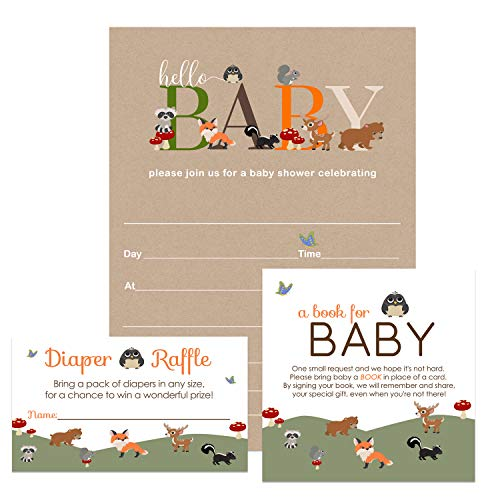 Woodland Baby Shower Invitation Bundle (25 Guests) Fill-in Blank Invite - Diaper Raffle Tickets - Book Request Cards - White Envelopes - Set Includes 25 Each - Boy or Girl