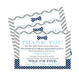 Bow Tie Baby Shower Thank You Cards and Grey Envelopes (15 Pack) - Oh Boy Little Man Theme - Navy and Grey - A6 Flat Notecards - Babies Stationery Set