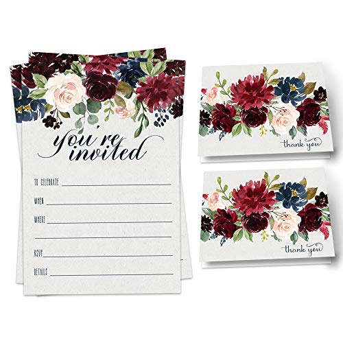 Indigo Floral Party Invitation Bundle (25 Guests) Pack Includes Fill-in Invites, Envelopes, Thank You Cards Styled for Bridal Shower, Wedding, Engagement, Birthday, Girls Baby Shower, Any Event