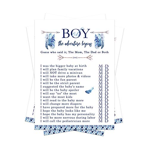 Adventure Awaits Baby Shower Game Pack - Mommy or Daddy (25 Cards) – Guess Which Parent Said It – Oh Boy Sprinkle Activities – Rustic Woodland Boho Style - Blue