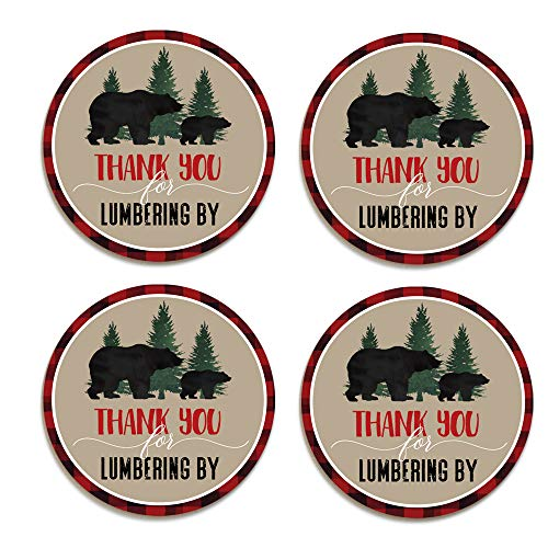 Lumberjack Favor Stickers (60 Pack) Boys Baby Shower Favors - Red and Black Plaid Party Supplies - Little Bear Round Sticky Labels