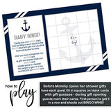 Nautical Baby Shower Bingo Game Pack (25 Cards) Guests Fill-In Blanks with Gifts Guesses - un Sprinkle Activity – Ahoy - Oh Boy - Anchors Away – Navy Blue