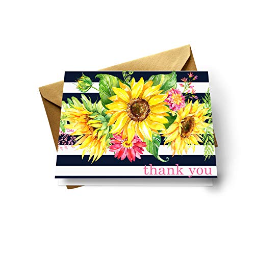 Sunflower Thank You Cards (20 Pack) Wedding – Bridal Shower – Rustic Baby Shower – Birthday - Graduation – Blue Yellow Flower Style - Everyday Folded Stationery Set with Gold Envelopes