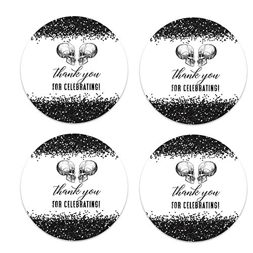 Glam Skull Wedding Stickers (60 Pack) Bridal Shower Favors Engagement Party Supplies Multiple Use Round Sticky Labels
