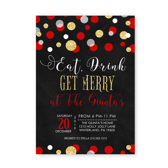 Eat Drink Be Merry Christmas Party Invitations and Envelope Set