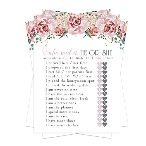 Charming Floral Bridal Shower Games (25 Pack) He Said She Said Cards - Bride or Groom Said It - Guess Who Knows Couple Best Guessing Activity - Wedding - Engagement Party - Rehearsal - Blush Rustic