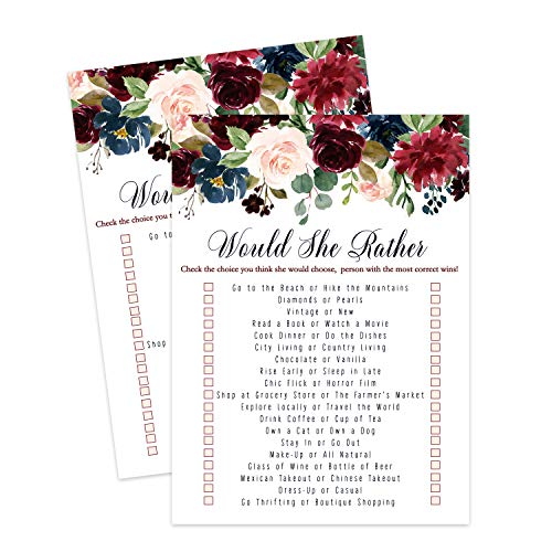 Indigo Floral Would She Rather Game (25 Cards) Bridal Shower - Baby Shower Girl or Boy – Adult Birthday - Who Knows Mommy Best – Guessing Activity - Rustic Flower Party Supplies
