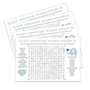 Blue Elephant Baby Shower Word Search Game (25 Pack) Fun for Guests to Play