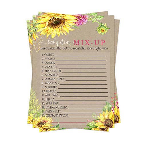 Sunflower Baby Shower Word Scramble Game Cards (25 Pack) Unscramble Mix-Up Gender Reveal Activity – Cute Woodsy Rustic Floral Theme - Pink and Yellow